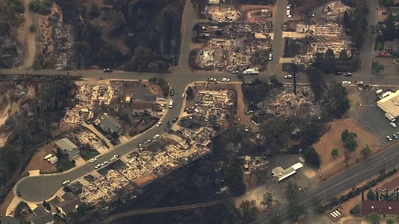 Sky7 HD shows homes destroyed by the Valley Fire in Lake County, Calif. on Tuesday, September 15, 2015.