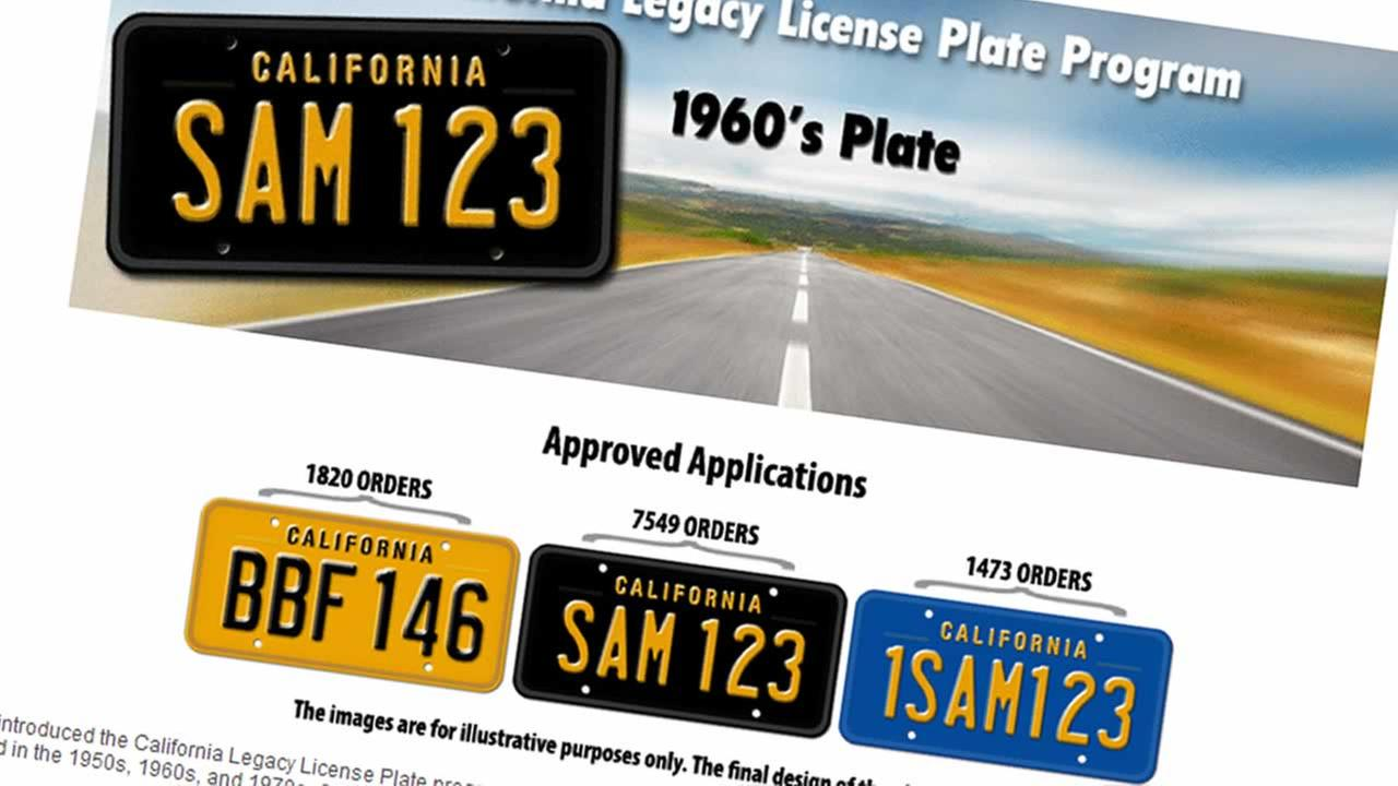 California DMV bringing back vintage black and yellow license plates