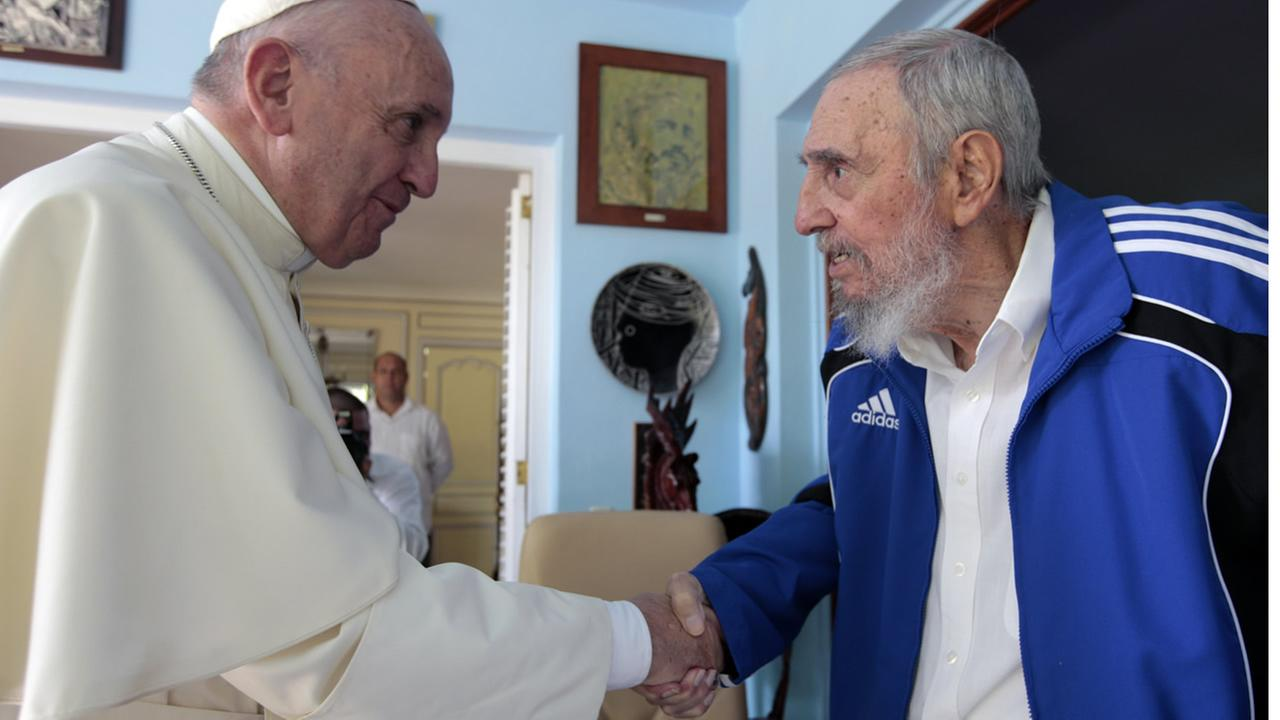 Pope Francis and Cubas Fidel Castro shake hands, in Havana, Cuba, Sunday, Sept. 20, 2015.  (AP Photo/Alex Castro)