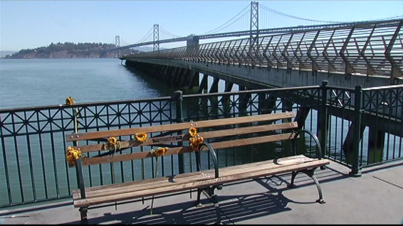 A bench that was installed in memory of San Francisco shooting victim Kate Steinle is seen at Pier 14 on Monday, September 21, 2015.