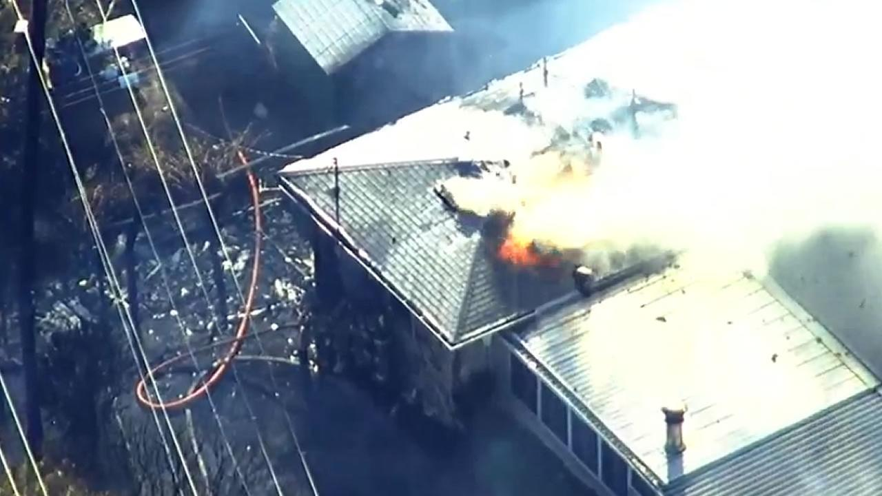 SKY7 was above a four-alarm fire that destroyed at least two structures near E. Tennessee and Taft streets in Fairfield, Calif. on Monday, September 21, 2015,