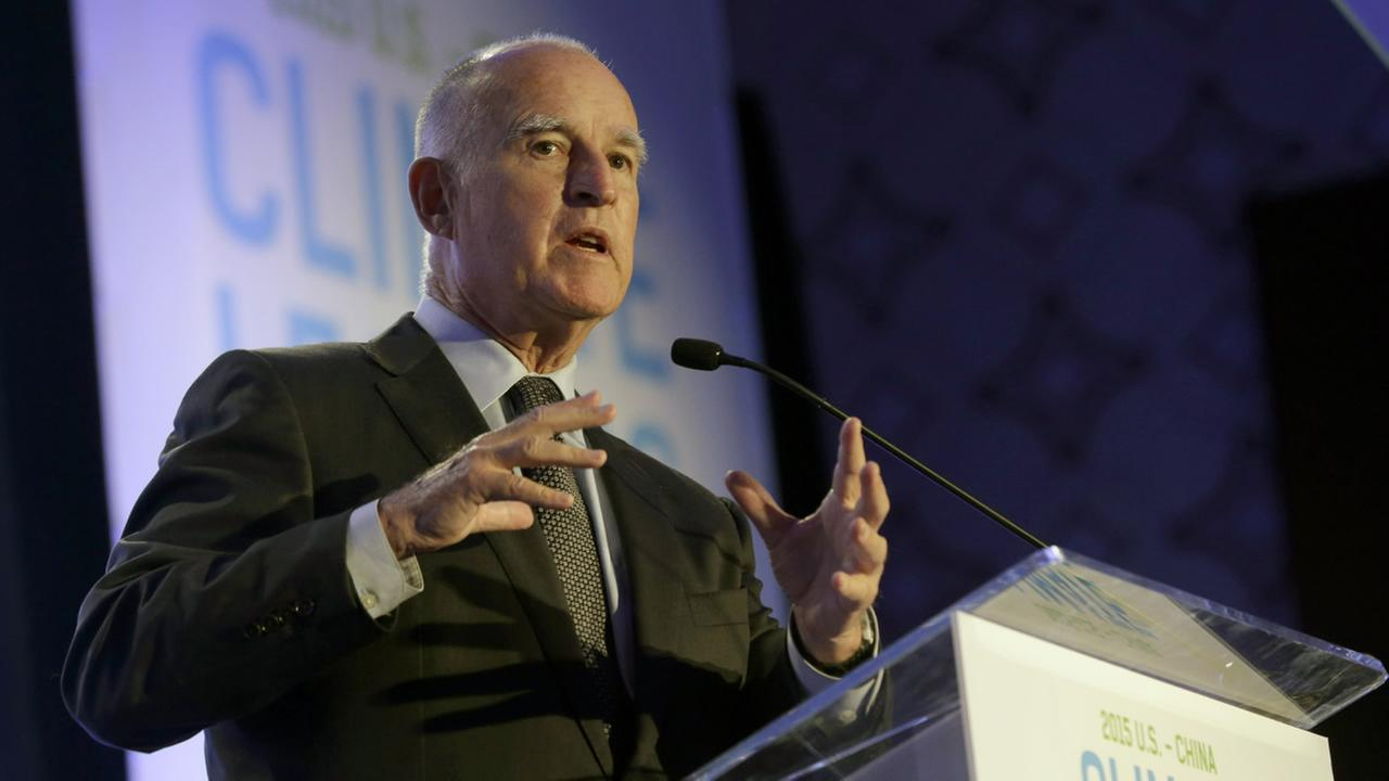 California Gov. Jerry Brown speaks during the White House-organized U.S. - China Climate Leaders Summit, Tuesday, Sept. 15, 2015, in Los Angeles.