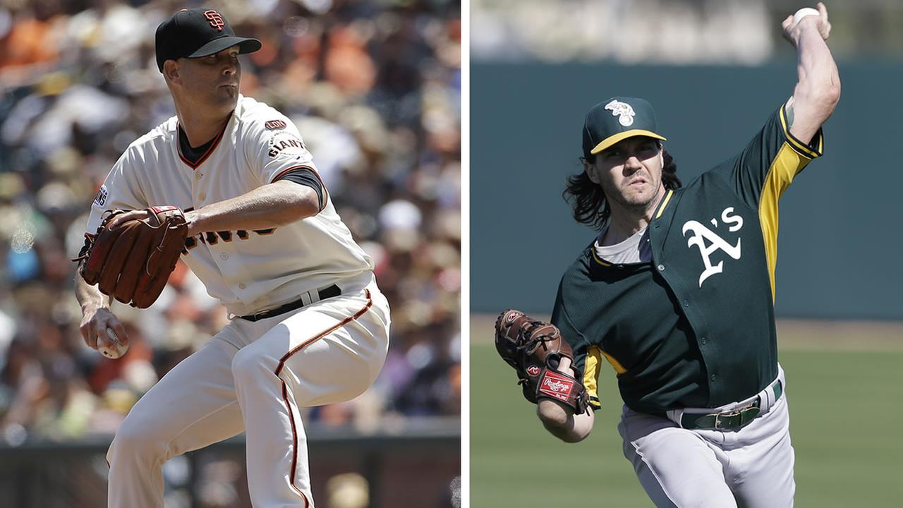 San Francisco Giants pitcher Tim Hudson, pictured left, and Oakland Athletics pitcher Barry Zito, pictured right. (AP Photo/Darron Cummings and Jeff Chiu)
