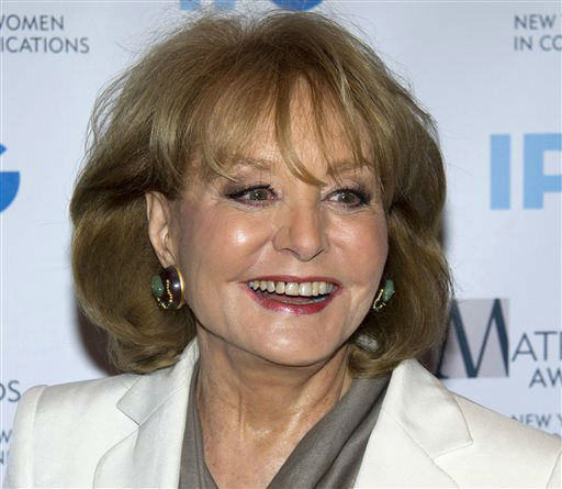 "<div class=""meta image-caption""><div class=""origin-logo origin-image ""><span></span></div><span class=""caption-text"">In this April 23, 2012 file photo, veteran ABC newswoman Barbara Walters arrives to the Matrix Awards in New York. (AP Photo/ Charles Sykes)</span></div>"