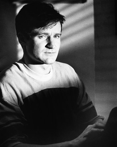 Actor Robin Williams in character as T.S. Garp, New England wrestler turned writer whose off-beat adventures unfold (1982). <span class=meta>AP</span>