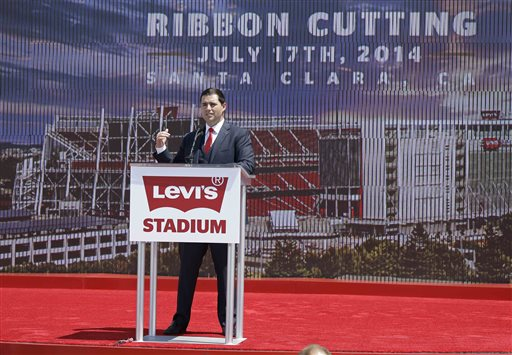 "<div class=""meta ""><span class=""caption-text "">San Francisco 49ers CEO Jed York speaks before the ribbon-cutting and opening of Levi's Stadium. (AP Photo/Eric Risberg)</span></div>"
