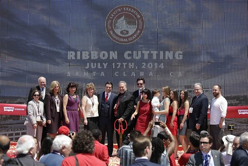 "<div class=""meta ""><span class=""caption-text "">Members of the York family and Santa Clara politicians pose for pictures after the ribbon-cutting and opening of Levi's Stadium. (AP Photo/Eric Risberg)</span></div>"