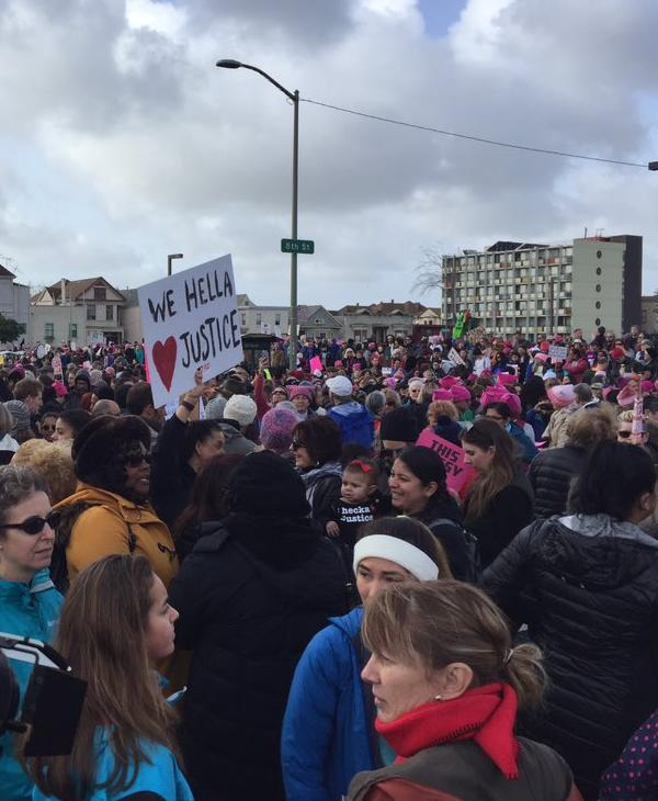 <div class='meta'><div class='origin-logo' data-origin='none'></div><span class='caption-text' data-credit='Photo submitted to KGO-TV by Katie Utehs/Twitter'>A large crowd is seen walking through Oakland, Calif. for the Women's March on Saturday, January 21, 2017.</span></div>