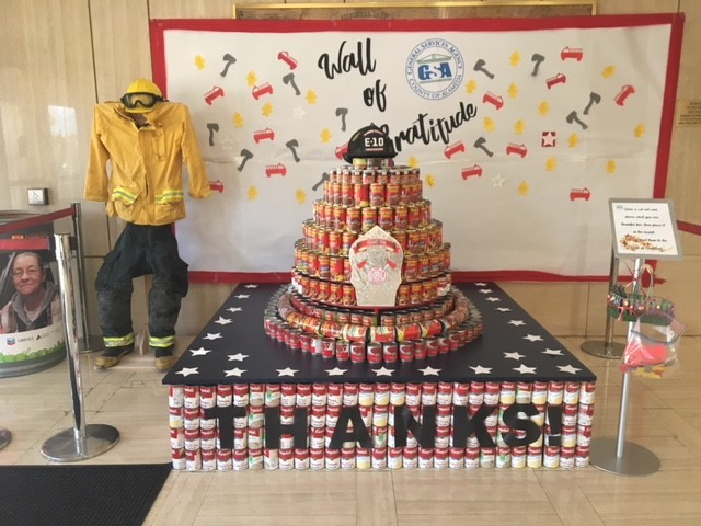 <div class='meta'><div class='origin-logo' data-origin='none'></div><span class='caption-text' data-credit='Alameda County Food Drive'>The General Services Agency (GSA) Tribute to Firefighters exhibit is on the first floor of the County building at 1401 Lakeside Drive, Oakland</span></div>