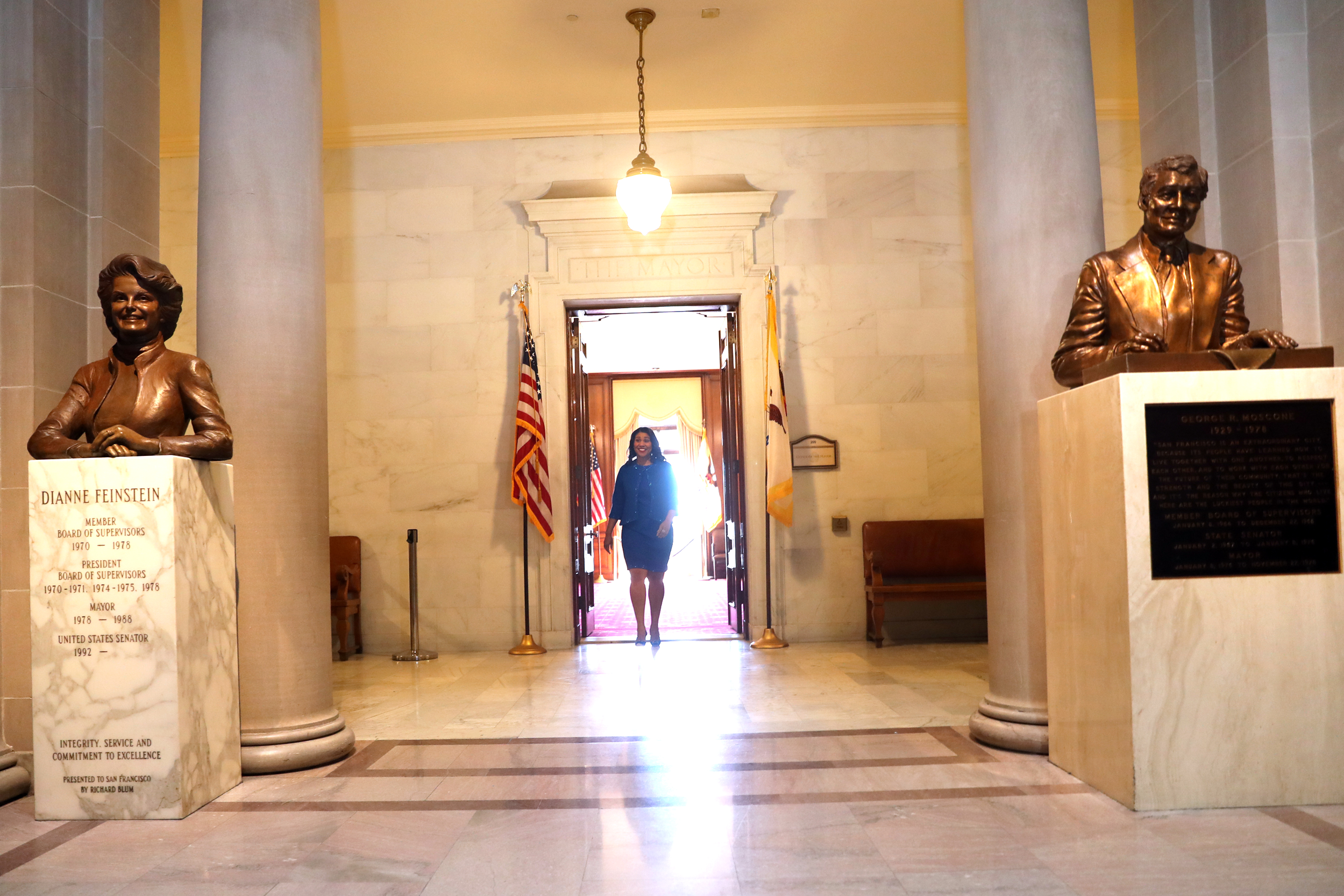 <div class='meta'><div class='origin-logo' data-origin='none'></div><span class='caption-text' data-credit='The Chronicle'>San Francisco Mayor London Breed leaves the Mayor's Office before her inauguration at City Hall in San Francisco, Calif. on Wednesday, July 11, 2018.</span></div>