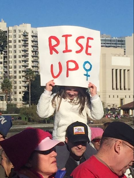 <div class='meta'><div class='origin-logo' data-origin='none'></div><span class='caption-text' data-credit='KGO-TV'>People are seen marching through the streets to take part in the second Women's March in Oakland, Calif. on Saturday, Jan. 20, 2018.</span></div>