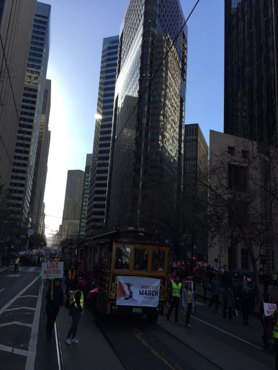<div class='meta'><div class='origin-logo' data-origin='none'></div><span class='caption-text' data-credit='KGO-TV'>Demonstrators are seen in San Francisco on Saturday, Jan. 20, 2018.</span></div>