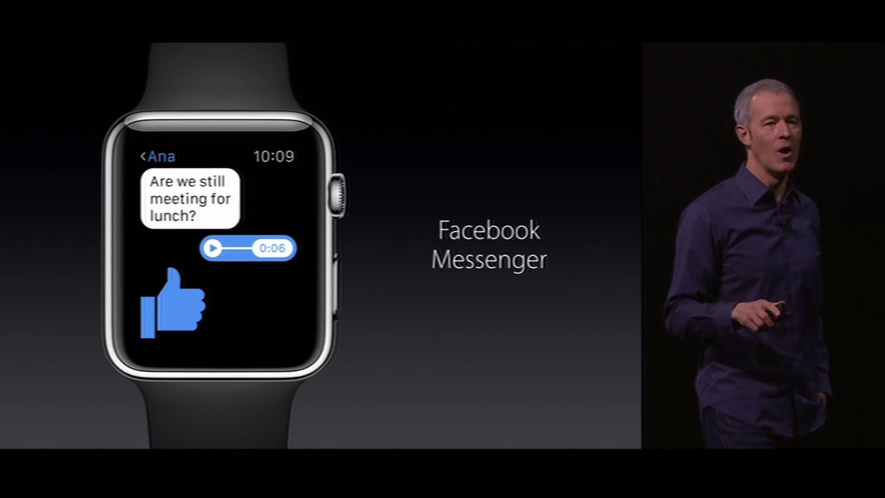 "<div class=""meta image-caption""><div class=""origin-logo origin-image none""><span>none</span></div><span class=""caption-text"">The new Apple Watch is compatible with Facebook's Messenger, as revealed on Wednesday, September 9, 2015, at the #AppleEvent in San Francisco.  (KGO-TV )</span></div>"