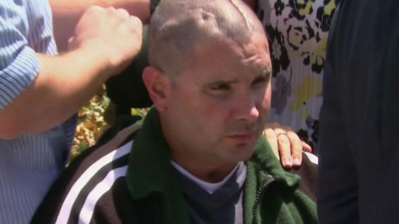Bryan Stow outside of a Los Angeles courthouse.