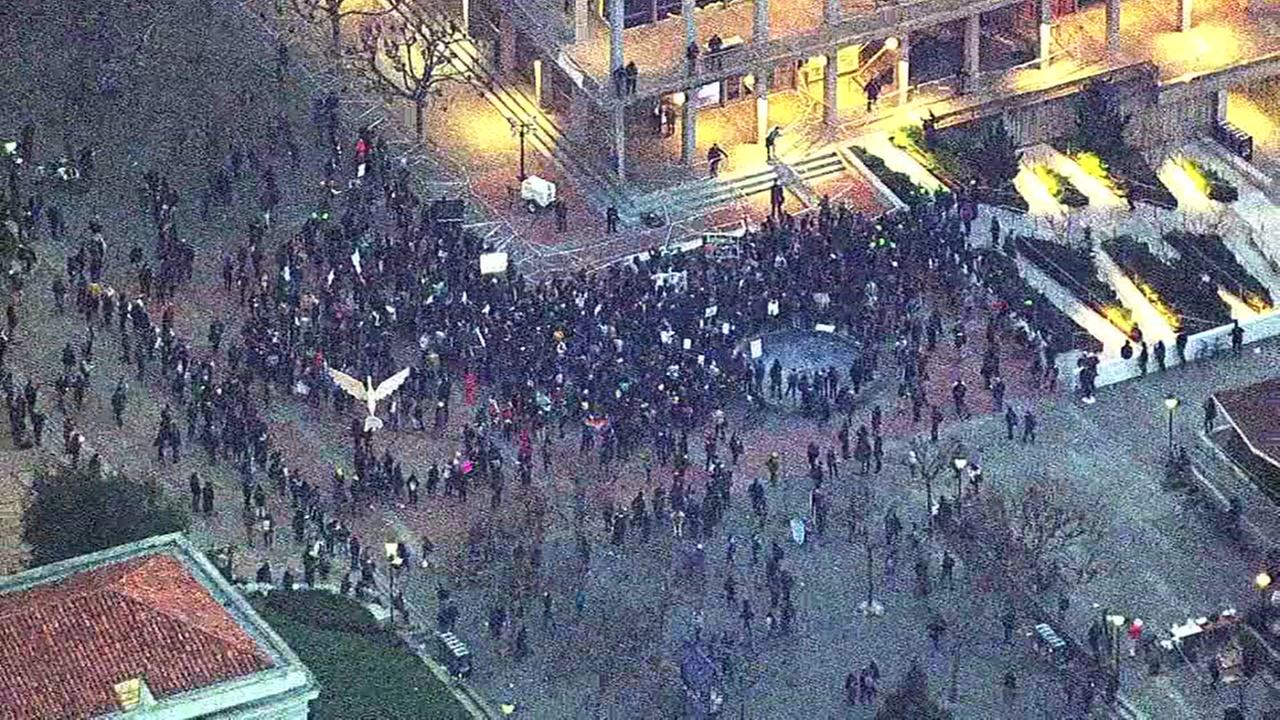 Protests erupt on UC Berkeley campus ahead of Milo Yiannopoulos event, in Berkeley, California. Wednesday, February 1, 2017KGO-TV
