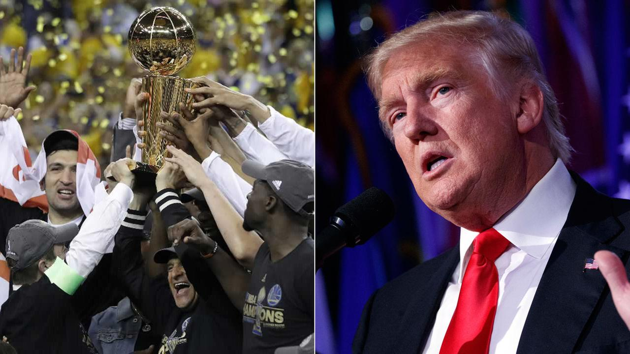 (Left) -- Golden State Warriors celebrate winning NBA championship in Oakland, California, Monday, June 13, 2017 and (right)  President Donald Trump