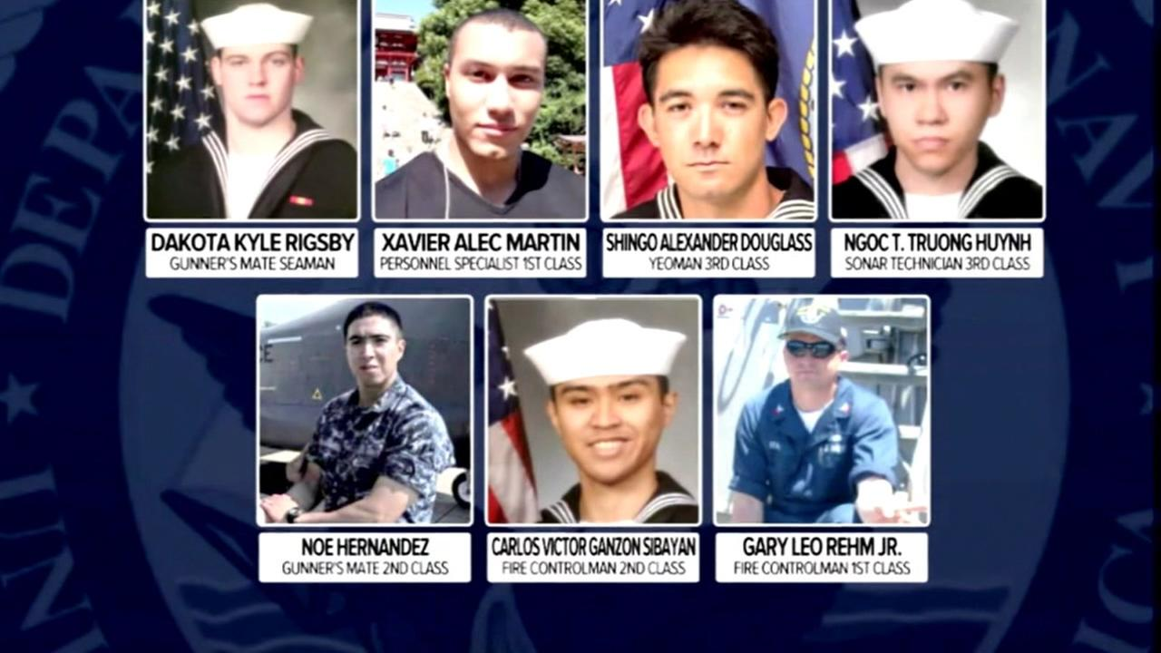 The Navy has identified the seven sailors who lost their lives after a large container ship collided with the USS Fitzgerald off the coast of Japan.