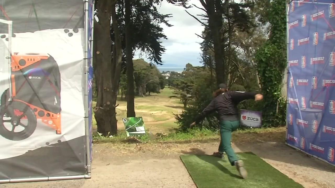 A pro disc golfer at the first ever San Francisco Open on May 25, 2018.