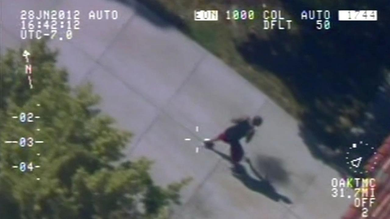helicopter footage of suspect