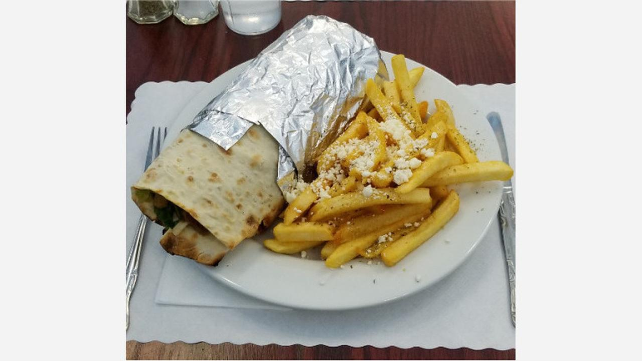 Wrap with fries at Greek Town. | Photo: Albertino M./Hoodline Tipline