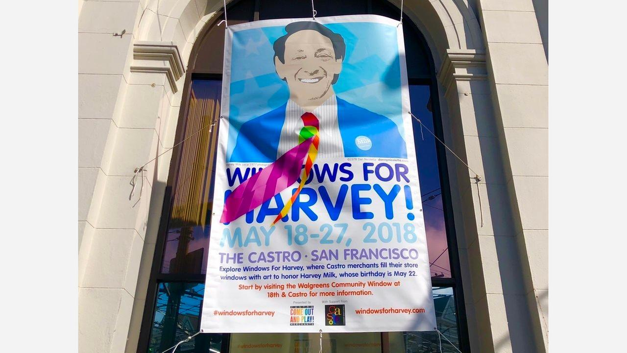 Windows For Harvey banner at 18th and Castro. | Photo: Steven Bracco/Hoodline