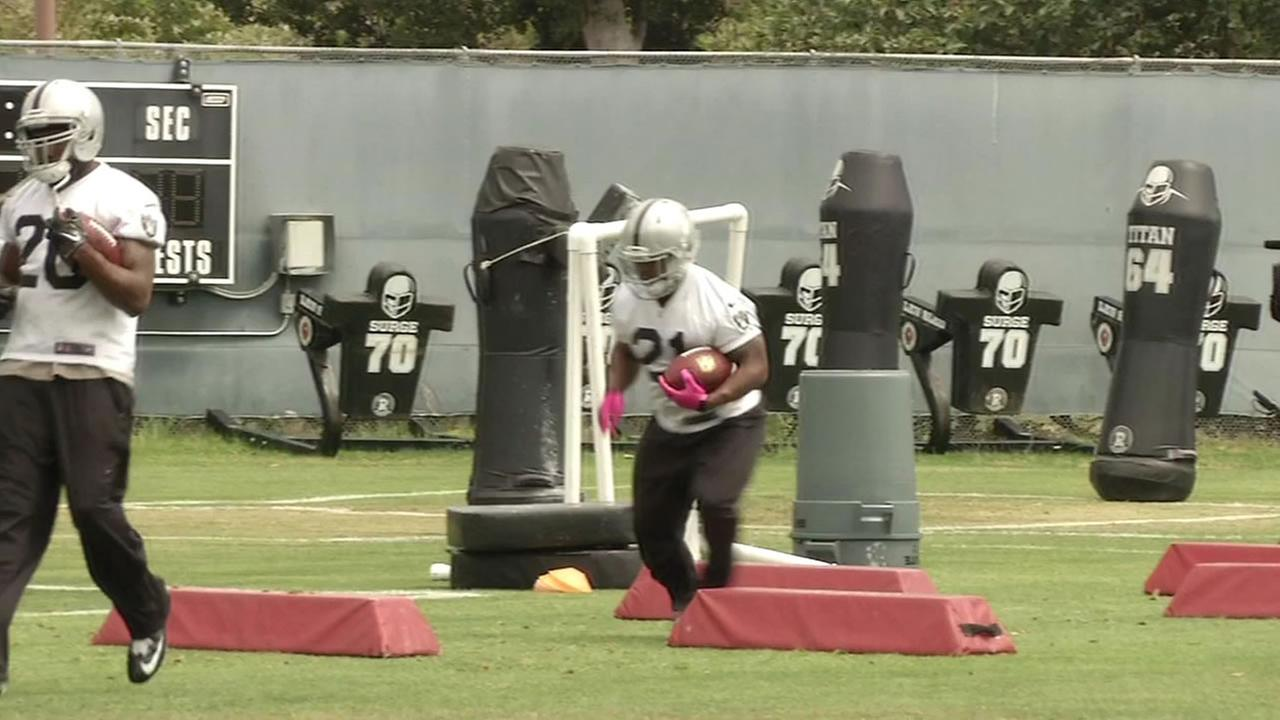 Oakland Raiders at practice.