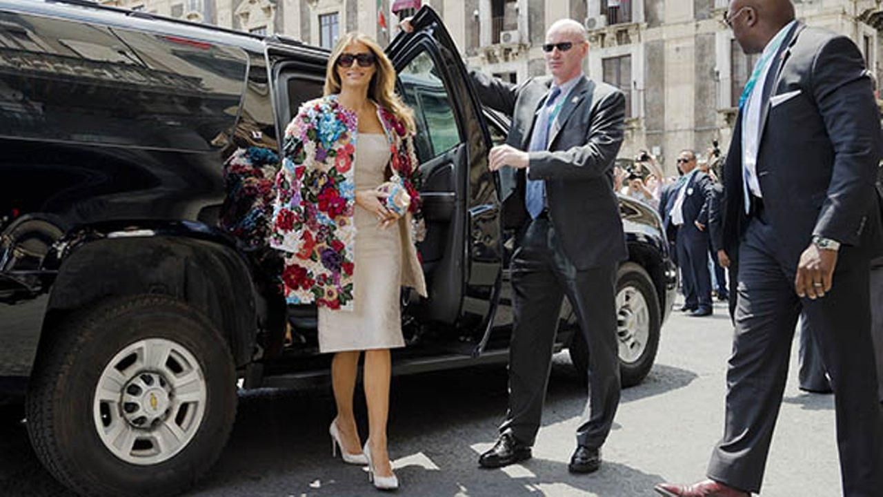 US First Lady Melania Trump arrives at the City Hall, Palazzo degli Elefanti, in the Sicilian town of Catania, Italy, Friday, May 26, 2017.