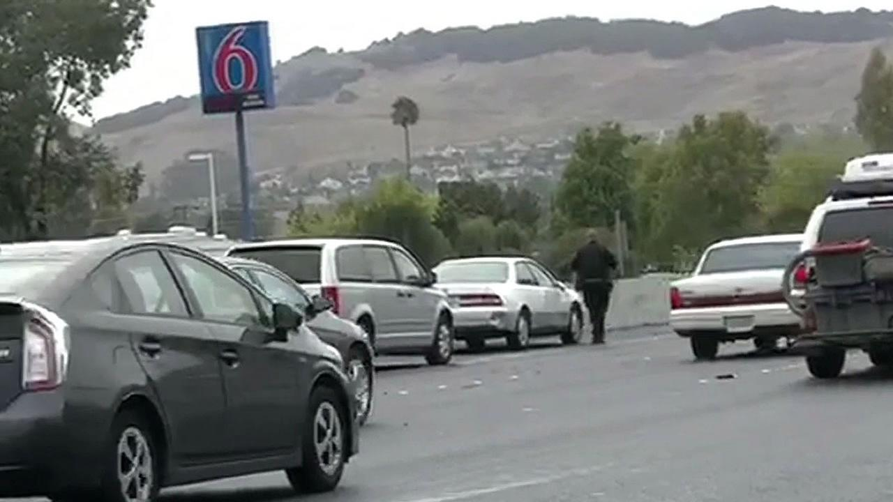 three-car crash on the freeway