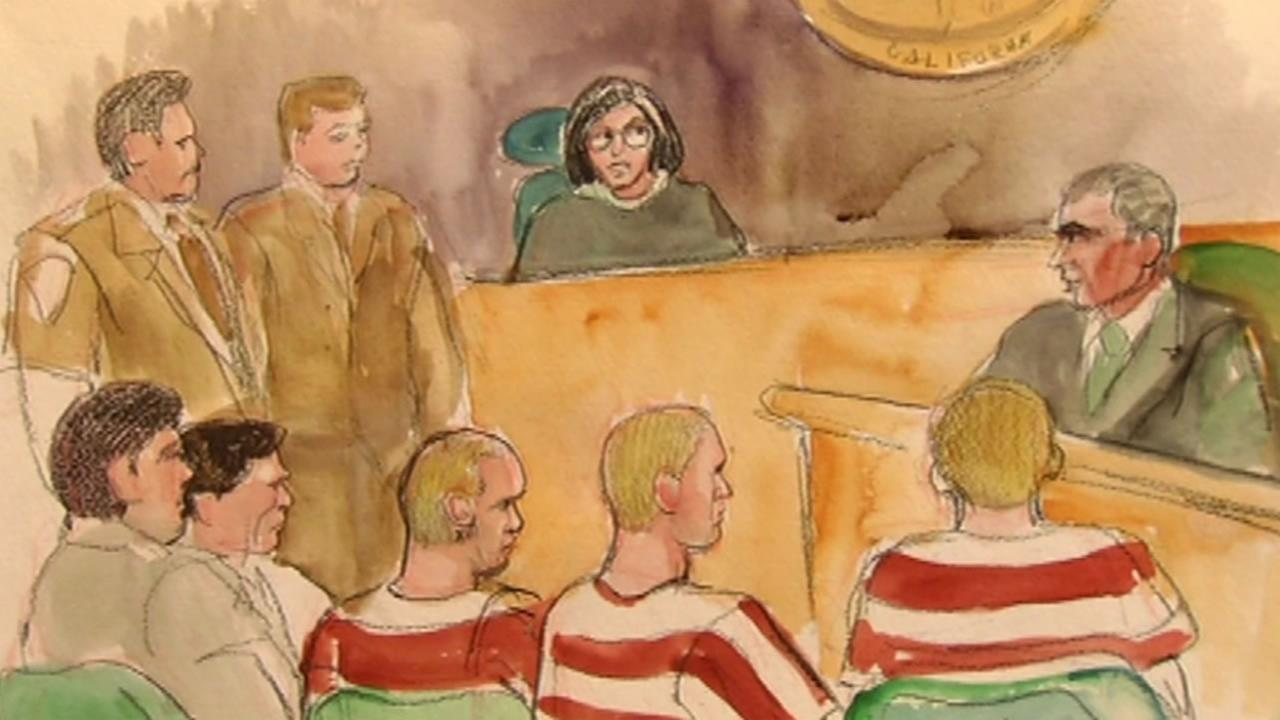 A sketch showing the suspects accused of killing a Canadian backpacker in San Francisco and a yoga teacher in Marin County are seen in court on Wednesday, October 14, 2015.
