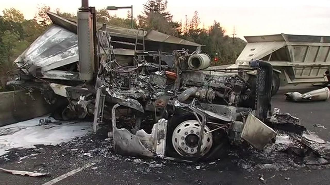 The charred remains of a big-rig after a crashed and caught fire on I-680 in Walnut Creek Friday Oct, 16, 2015.