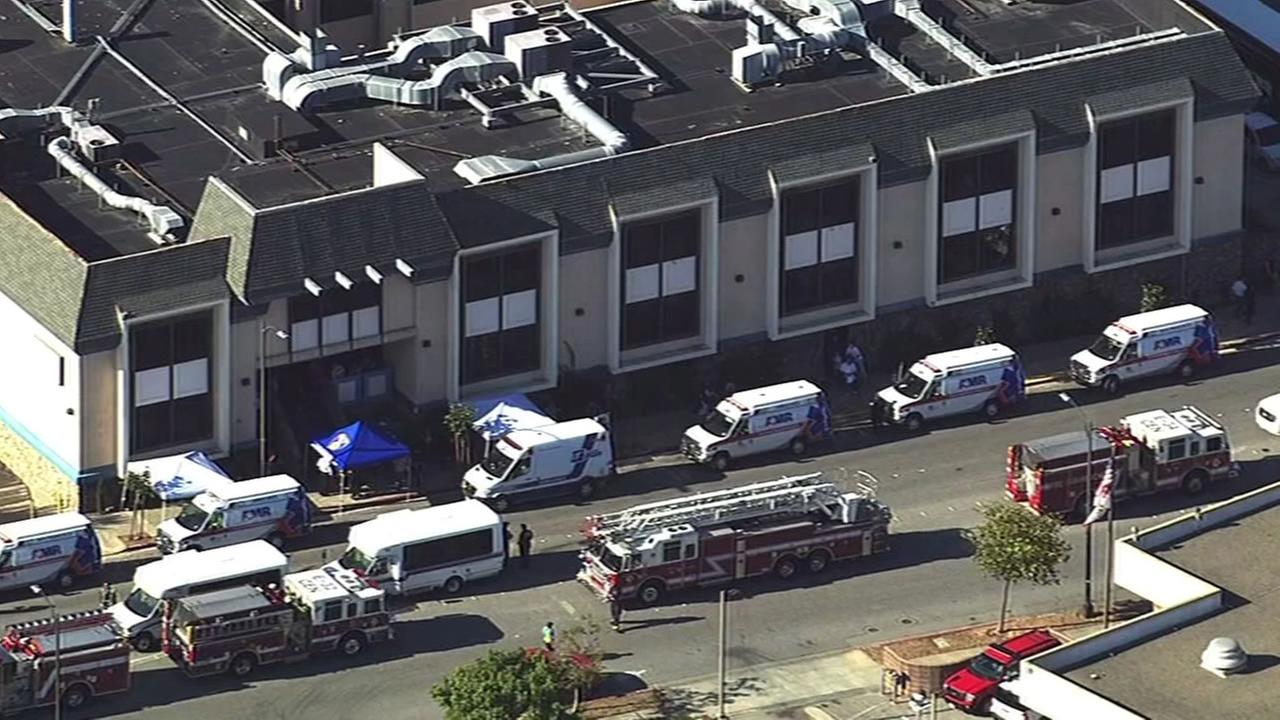 First responders gathered at a Burlingame long-term care facility to transport patients to other facilities after a fire knocked out the power, Oct. 16, 2015.