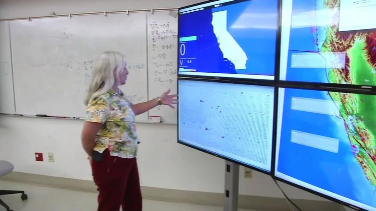 Univeristy of California Berkeley seismologist Peggy Hellweg examines a recent swarm of earthquakes that hit the East Bay, Oct. 20, 2015.