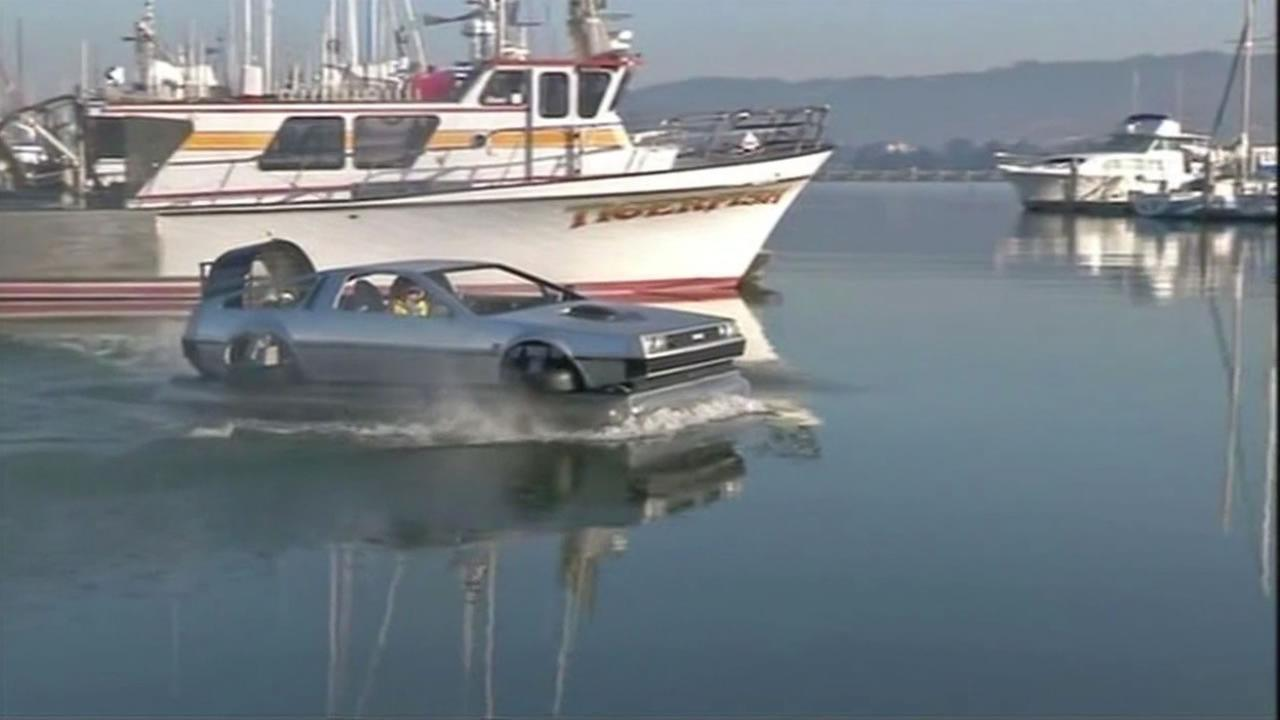 San Francisco man Matt Reiss created a hovercraft in the shape of a DeLorean.