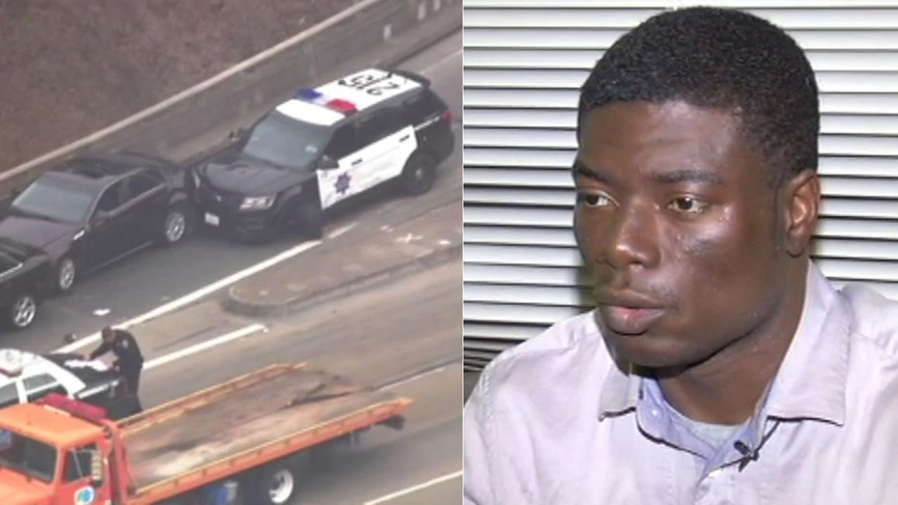 ABC7 News spoke exclusively with a man injured in a bizarre chase and crash that started with a stolen police car in San Francisco on Saturday, October 24, 2015.