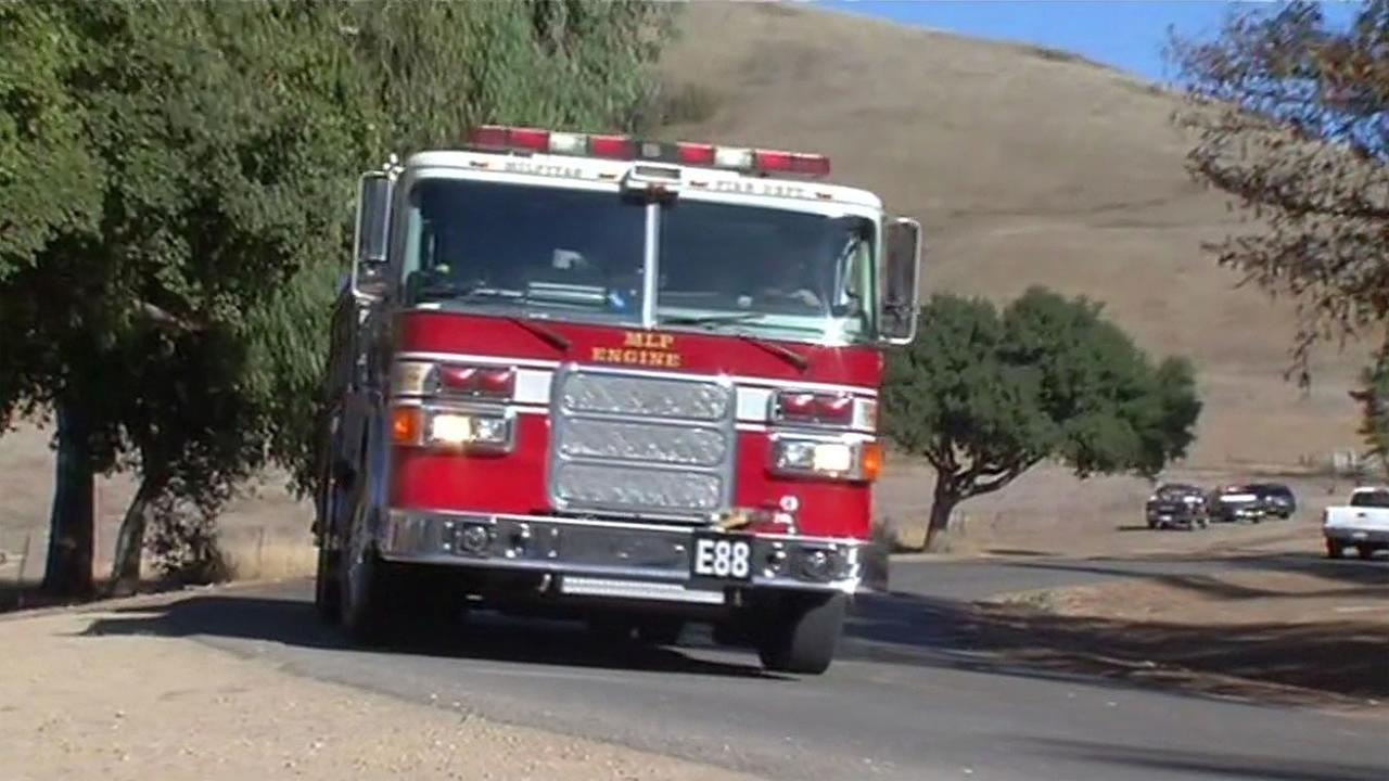 An ambulance arrived at Ed Levin County Park in Milpitas, Calif. on Sunday, October 25, 2015 to rescue a paraglider who slammed into the side of a hill.