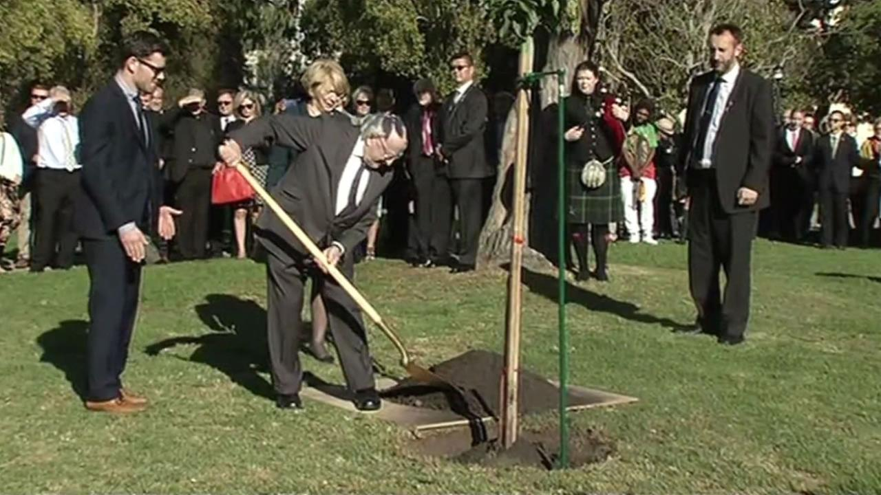 Irelands President Michael Higgins planted six trees in MLK Civic Center Park in Berkeley, Calif. Oct. 28, 2015 to pay tribute to the students killed in a balcony collapse.