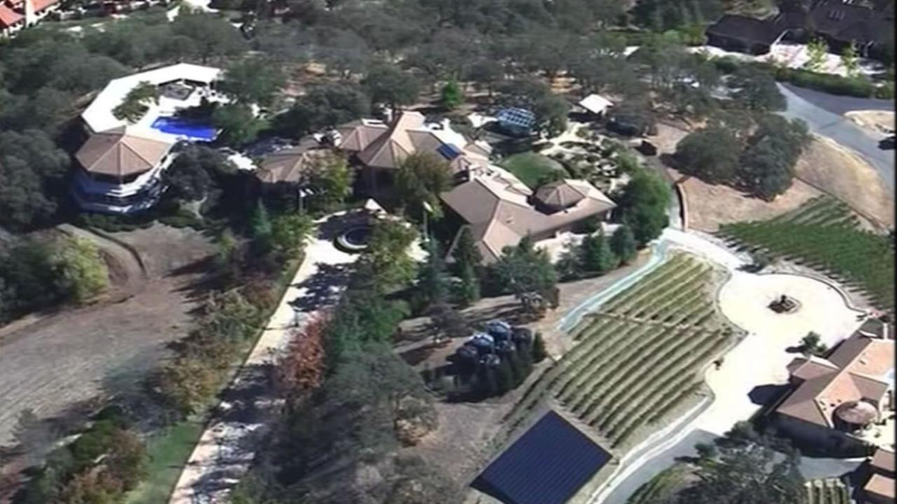 Sky7 HD flew over a Diablo, Calif. home Oct. 29, 2015 of one of the people who made the East Bay Municipal Utilities list of excessive water users.