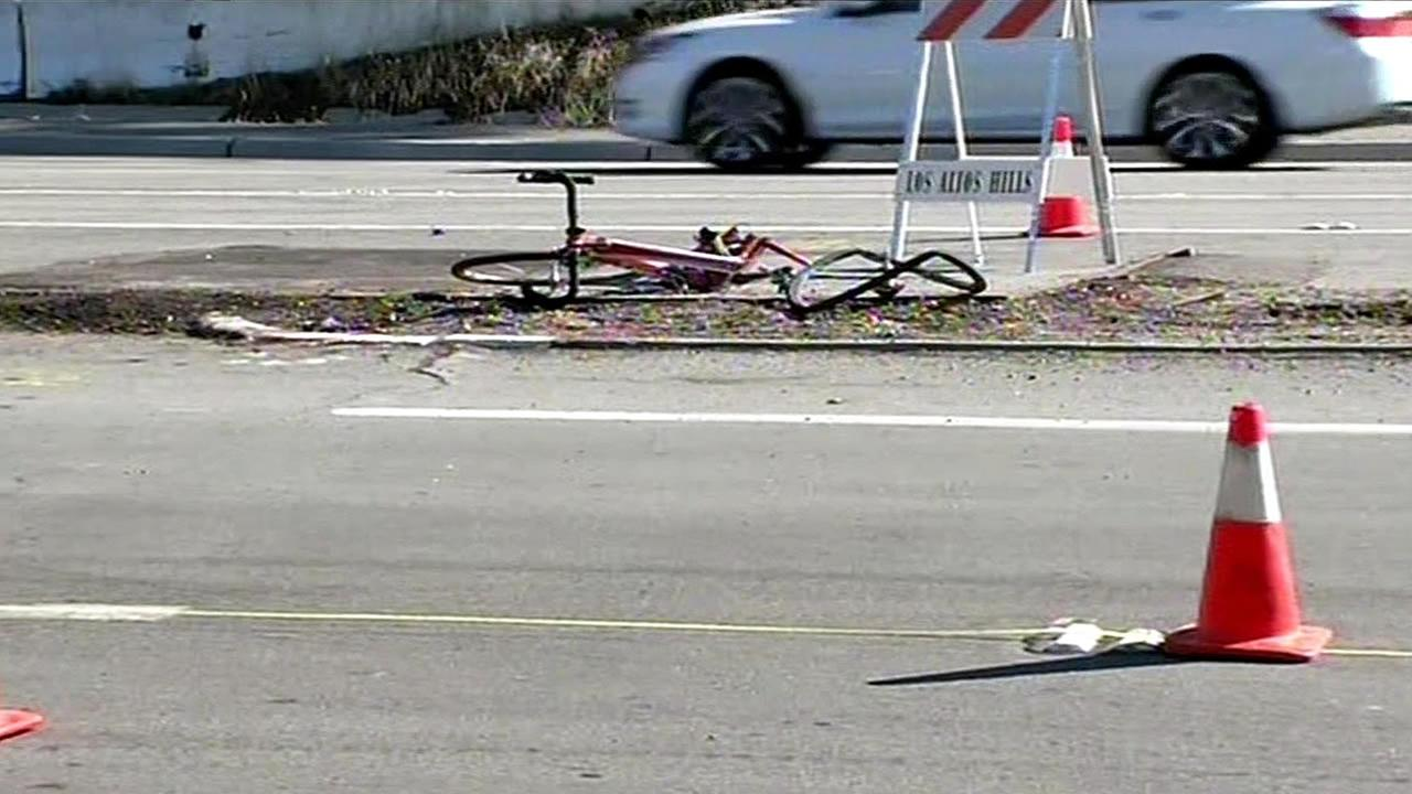 In this image, a bicyclist was fatally struck by a car near the intersection of Page Mill Road and Christopher Lane just outside of Palo Alto, Calif. on Tuesday, November 3, 2015.