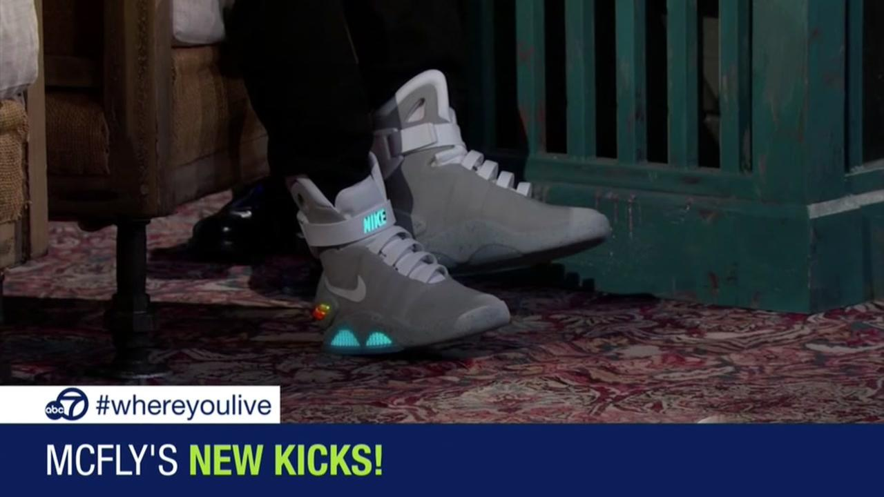 Marty McFly shows off self-lacing Nikes