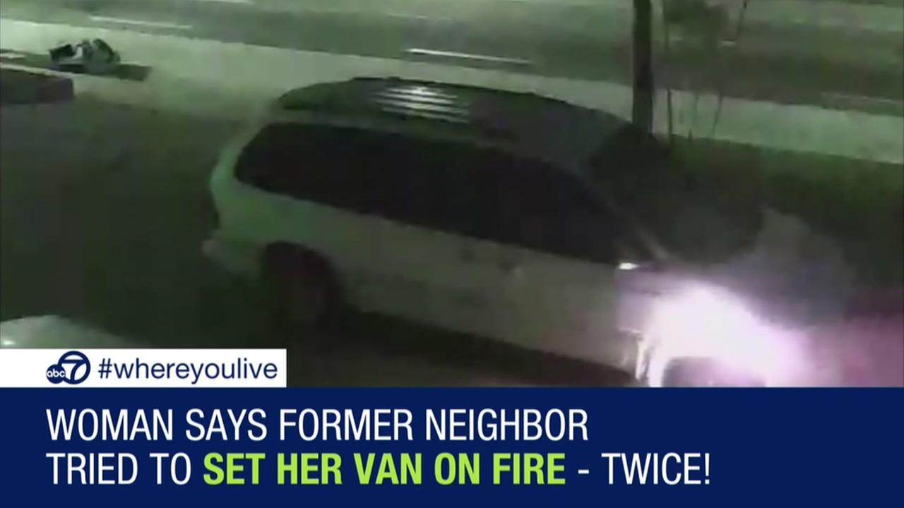 Woman says former neighbor tried to set her van on fire