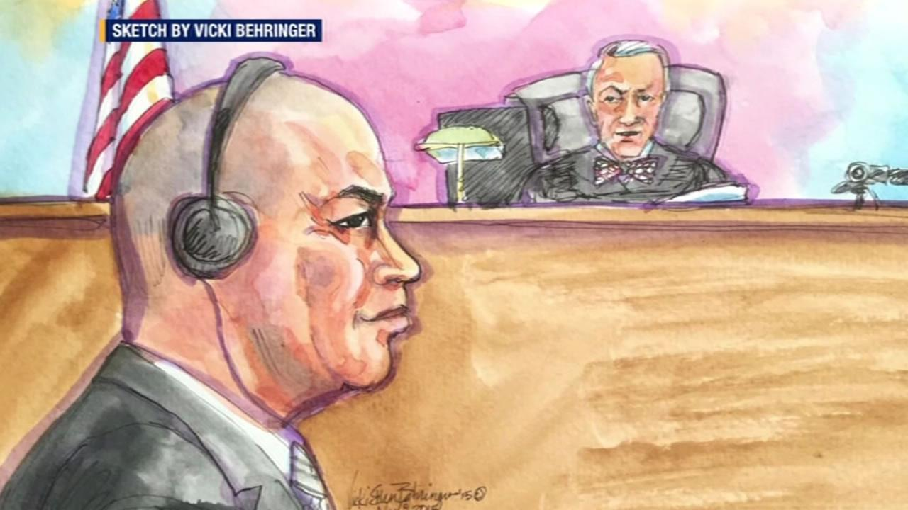 This sketch shows Raymond Shrimp Boy Chow inside a San Francisco courtroom at the start of his trial November 9, 2015.
