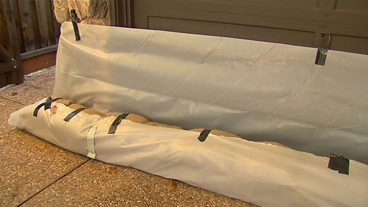 Sandbags are seen in front of a home in Palo Alto, Calif. on Tuesday, November 10, 2015.