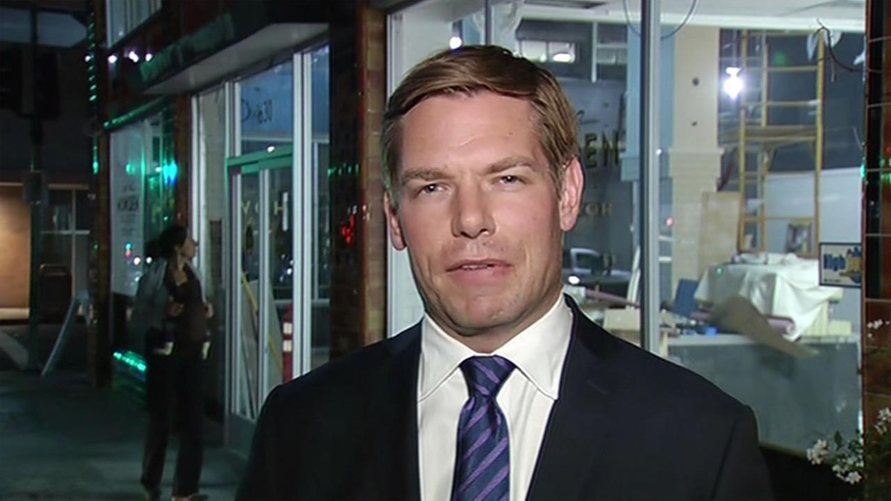 Pleasanton Congressman Eric Swalwell shared his thoughts on the Paris terror attacks while in Oakland, Calif. Nov. 13, 2015.