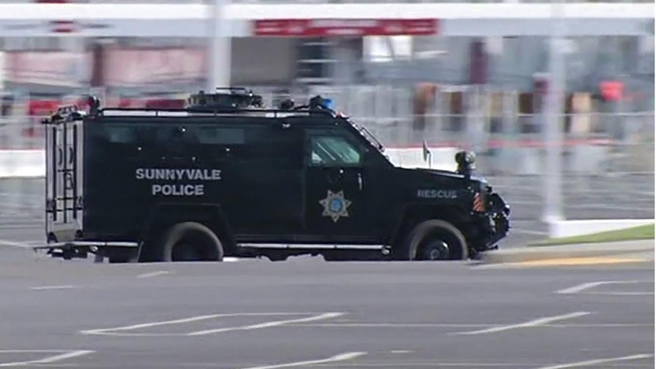 In this image, a Sunnyvale police van drives outside Levis Stadium in Santa Clara during a security exercise on Tuesday, November 17, 2015.