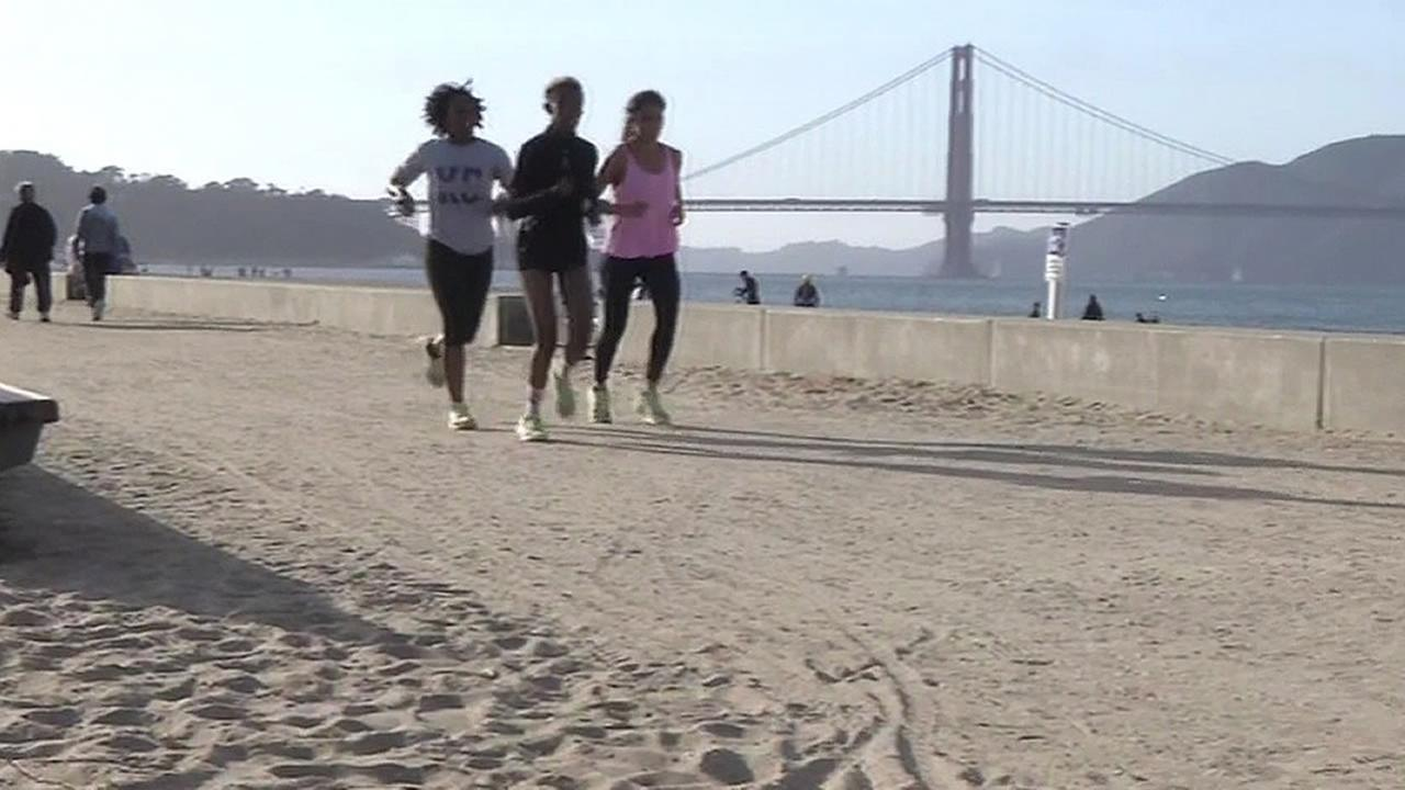 Three women are seen running in this undated image.