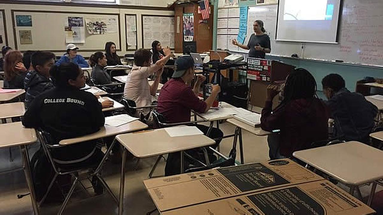 Berkeley High School students are seen in a classroom taking part in a day of healing to talk about racism on Wednesday, December 9, 2015.