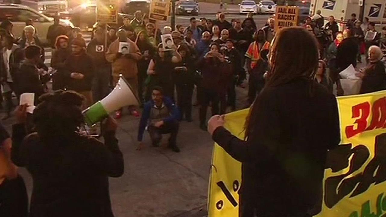 protest on steps of San Francisco City Hall over Mario Woods shooting