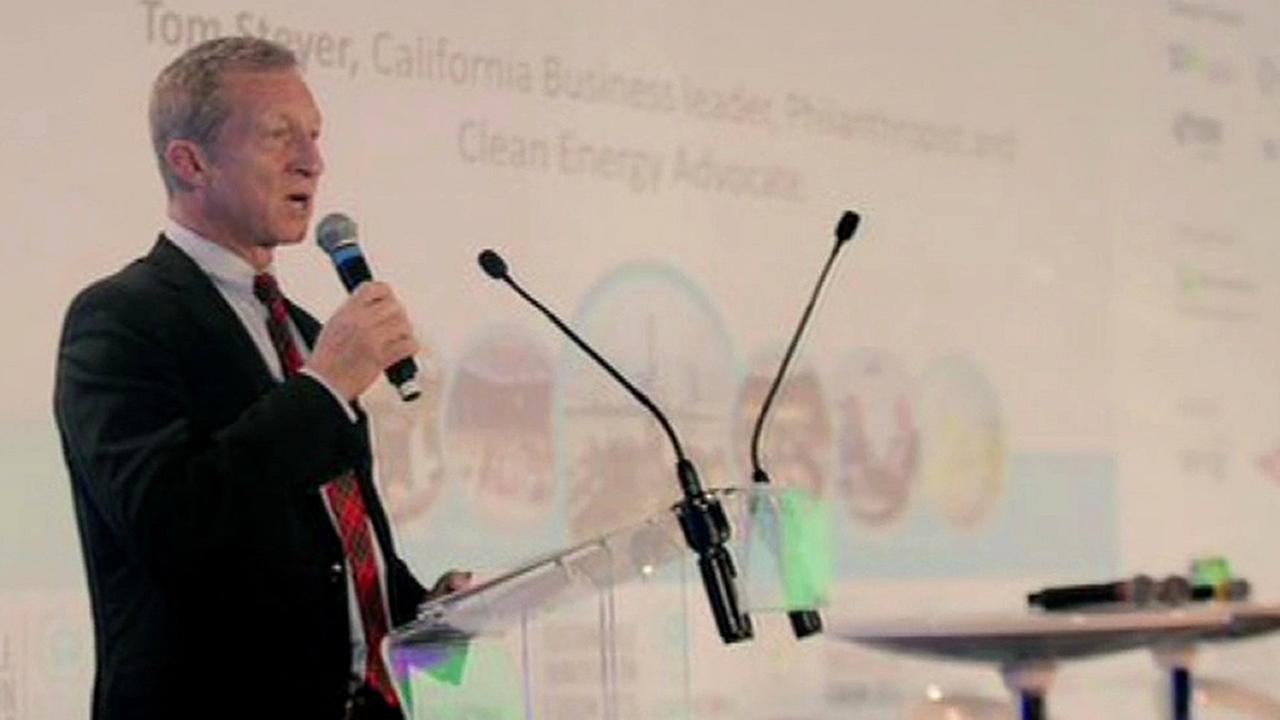 Tom Steyer is speaking at a climate change event in this undated image.