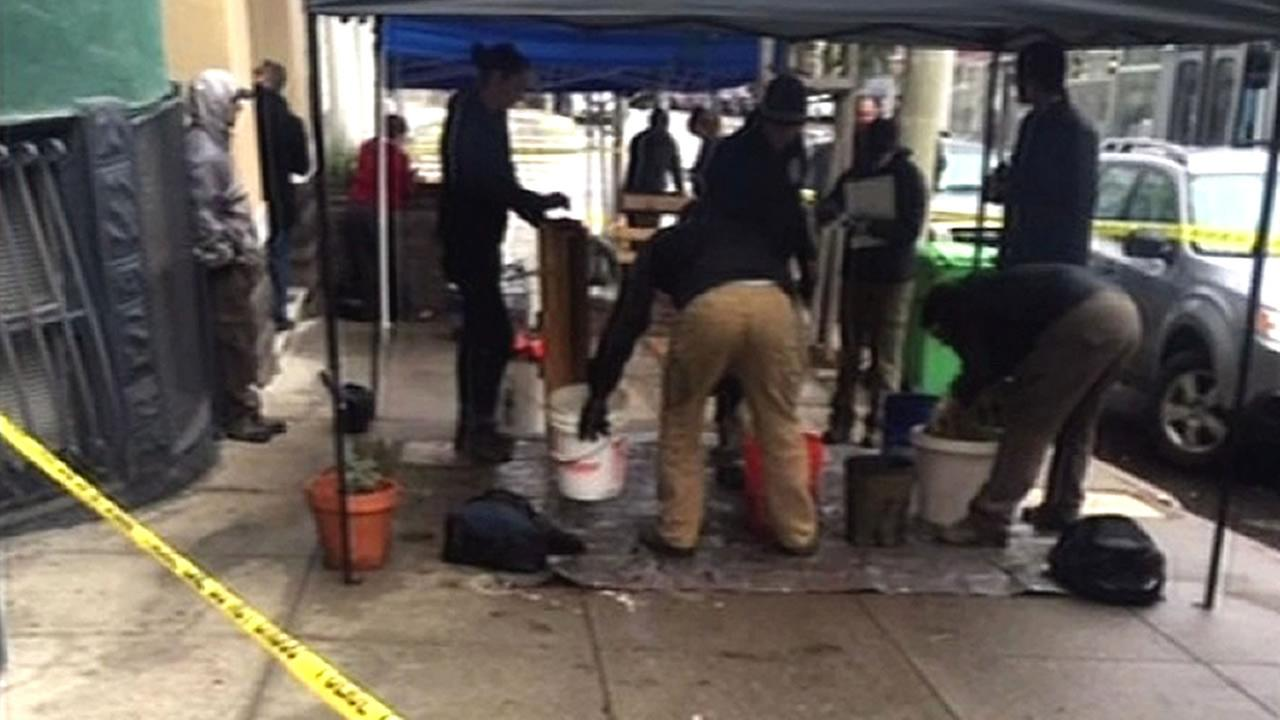 Police are investigating after the bones of a child were discovered in a planter box outside an apartment in San Francisco on Monday, November 23, 2015.