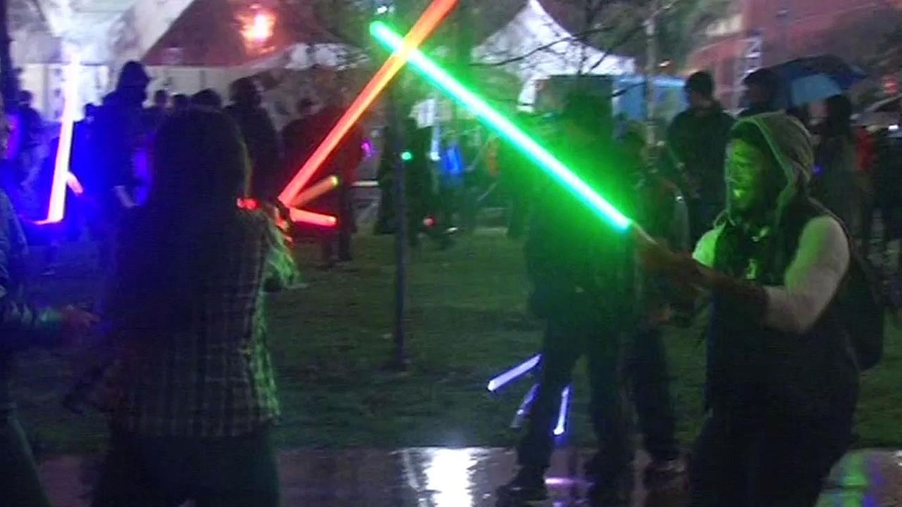 lightsaber fight in San Francisco